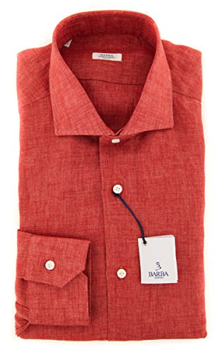 New Barba Napoli Red Solid Slim Shirt