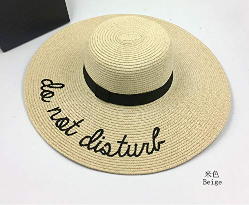 mi ji Sombrero de Paja Ajustable para Mujeres con Los Bordados Frases Do  Not Disturb de ala Ancha Grande de para Playa Parque y Piscina de Sombrero  de ... 4f9ca8a3c08
