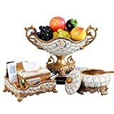 HONGNA European Fruit Bowl Living Room Luxury Creative Dried Fruit Candy Dish Three-Piece Home Coffee Table Set High-Grade Ornaments (Ashtray Tissue Box Fruit Plate) (Color : B)