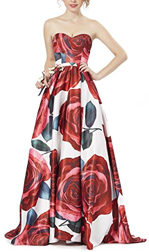 LOVIER Evening Prom Dress Homecoming Dresses Beaded Sweetheart Printing Satins for Women 2018(Size6)