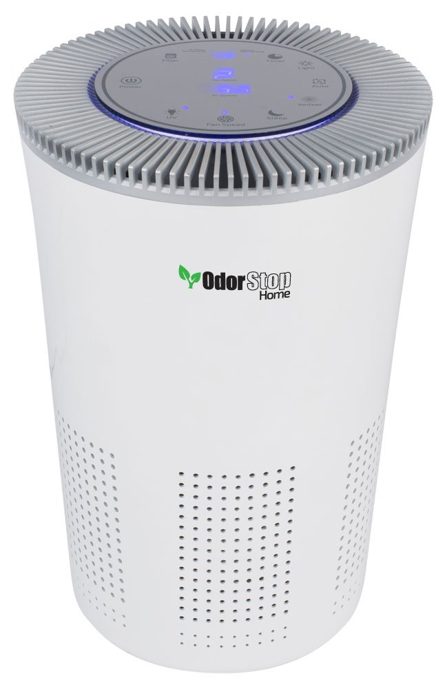 OdorStop HEPA Air Purifier with H13 HEPA Filter, UV Light, Active Carbon, Multi-Speed, Sleep Mode and Timer (OSAP5, Bright White)