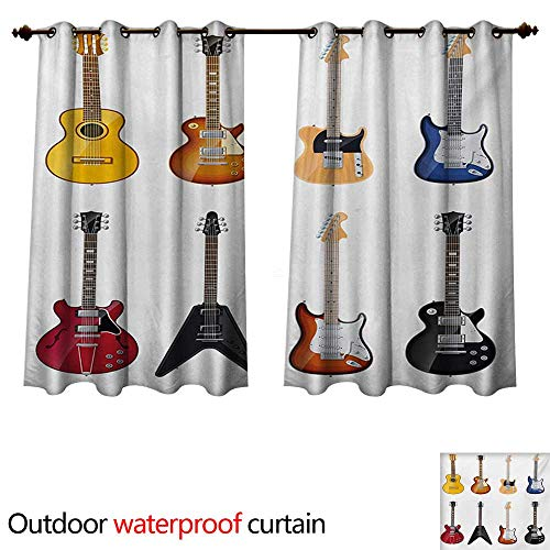 Guitar Outdoor Balcony Privacy Curtain A Wide Variety of String Instruments Realistic Musical Pattern Jazz Blues Acoustic W55 x L45(140cm x ()