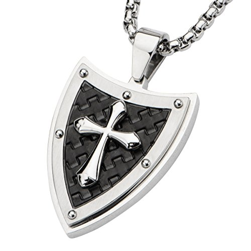 Pointed Passion Cross Shield Black Stainless Steel Mens Cross (Black Tribal Shield)