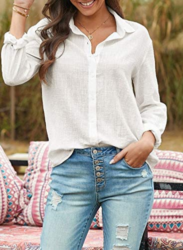 HOTAPEI BLOUSES FOR WOMEN CASUAL V NECK SOLID COLOR WOMENS LONG SLEEVE BUTTON DOWN TOPS CHIFFON SHIRTS