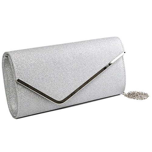 Flap Wedding style Evening Shiny Women's Handbag Over Clutch Envelope Silver Bag Ladies Shimmery aqnTUz4