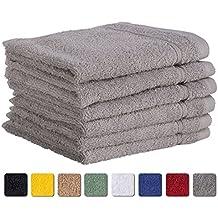 6-Piece Washcloth Towels SET Affordable Premium Quality 100% Turkish Cotton | Silver Grey