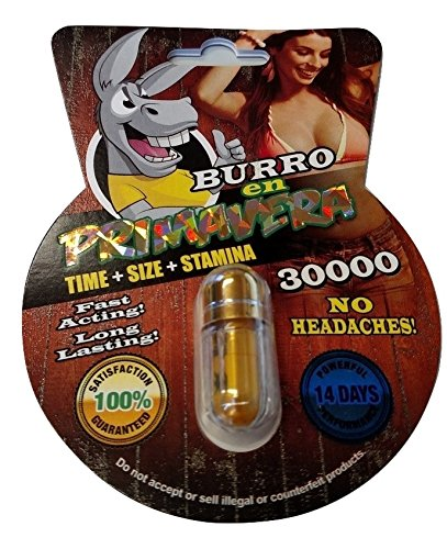 NEW BURRO EN PRIMAVERA 30000 All Natural Male Enhancement Sex Pills Increase Libido Stamina Energy Booster (Multi Packs) (3) (Enhancement Performance Pill Male)