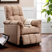 Relaxing Microfiber Recliner with Thickly Padded Seat, Wide Arms and Tall Back Design, Sturdy Frame Construction, Perfect for Living Room, Ideal for Napping, Beige