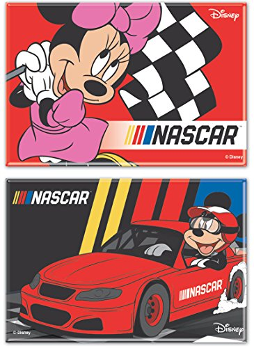 WinCraft NASCAR 2 Disney Fridge Magnets, 1 Mickey and 1 Minnie Mouse 3 x 2 1/4