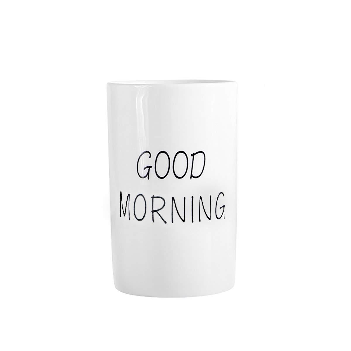 Ceramic Tumbler Cup for Bathroom Toothbrush,Water,Milk,Toothpaste (Good Morning Cup) by Kelake