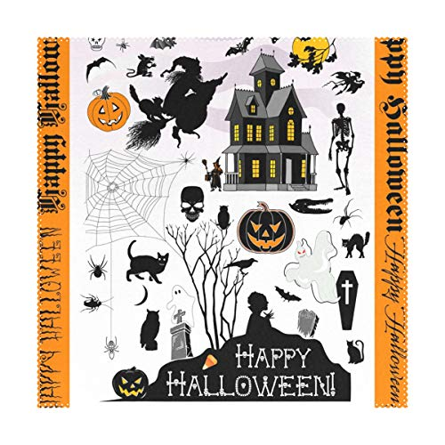 LORVIES Halloween Town Placemats Set of 4, Heat-Resistant Placemats Stain Resistant Washable Polyester Square Table Place Mat for Kitchen Decorative Dining Table, 12