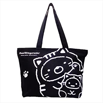 5bde54485d Image Unavailable. Image not available for. Color: BLY Canvas tote bag  Sumikko Gurashi cat navy from Japan