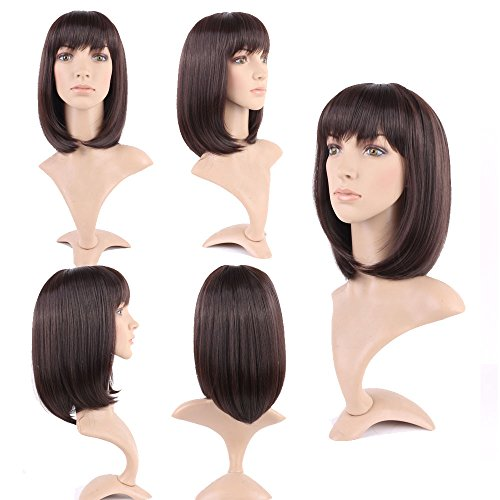 New Trendy Straight Wigs for Women Daily Wear Shoulder Length with Neat Bangs 14 Styles (Dark Brown)…