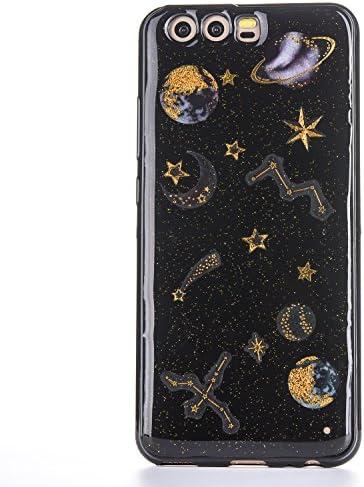 Huawei p8 tpu 케이스 CrazyLemon 글 리터 스파클 골든 은하계 星月 테두리 얇은 일체형 소프트 TPU 실리콘 파 웨이 p8 사례 멋쟁이 귀여운 낙하 방지 충격 흡수-블랙 / Huawei p8 tpu case CrazyLemon Glitter Sparkle Golden Galaxy Star Moon Pat...