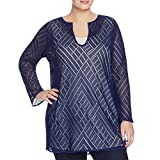 Nic + Zoe Womens Plus Sun Lace Long Sleeves Tunic Top Navy 2X