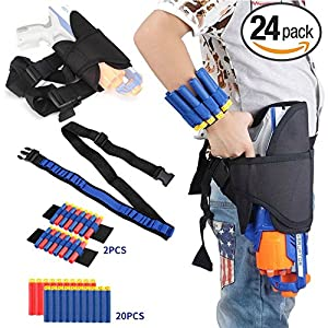 Fury Strike Kids Holster Belt Kit for Nerf N-Strike Elite Series - Includes Holster Waist Bag, Bandolier Strap, 2 Pcs Wrist Ammo Holder, & 20 Refill Darts