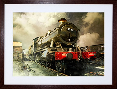 Framed Picture Vintage (STEAM TRAIN VINTAGE COLOUR PHOTO FRAMED ART PRINT PICTURE & MOUNT F12X1128)