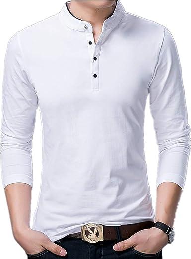 Camiseta de manga larga para hombre, estilo casual, cuello alto, algodón: Amazon.es: Ropa y accesorios