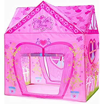 PLAY 10 Kids Pink Flower Play Tent Princess Playhouse for Indoor and Outdoor Fun,Roomy Enough for 2-3 little Girls Play Together