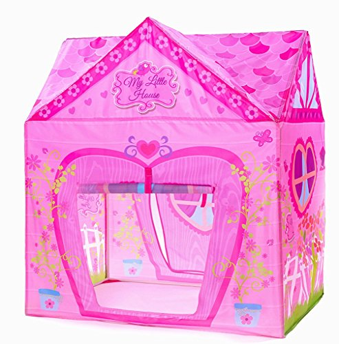 PLAY 10 Kids Pink Flower Play Tent Princess Playhouse for Indoor and Outdoor Fun,Roomy Enough for 2-3 little Girls Play (Girls Tent)