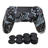 YoRHa Water Transfer Printing Camouflage Silicone Cover Skin Case for Sony PS4/slim/Pro controller x 1(snow) With Pro thumb grips x 8 by YoRHa