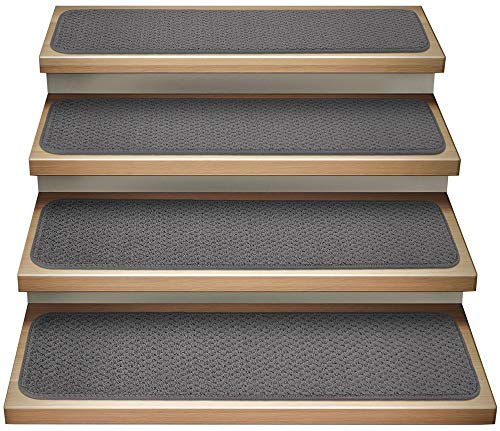 House, Home and More Set of 12 Attachable Indoor Carpet Stair Treads - Gray - 8 Inches X 27 Inches
