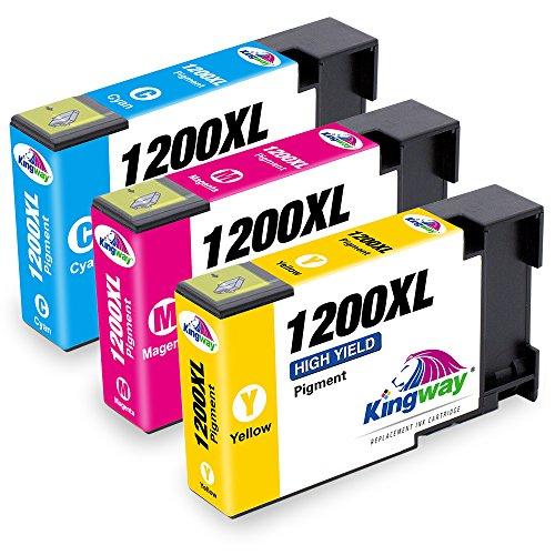 3pk Magenta Inkjet Cartridge (Kingway PGI-1200XL PGI1200XL PGI-1200 XL Compatible Canon PGI 1200 1200XL Pigment Ink Cartridge Compatible with Canon Maxify MB2320 MB2020 MB2120 MB2720 Printer (1 Cyan, 1 Magenta, 1)