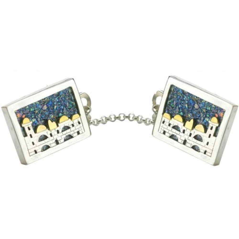 Baltinester Ancient Roman Glass Tallit Clip With Jerusalem Skyline Silver and Gold