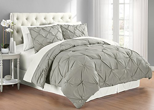 Swift Home Premium Collection 3-Piece Pintuck Comforter Set, King, - Dimensions Set Comforter