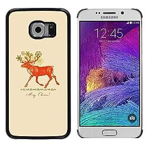 FECELL CITY // Duro Aluminio Pegatina PC Caso decorativo Funda Carcasa de Protección para Samsung Galaxy S6 EDGE SM-G925 // Christmas Deer Red Peach