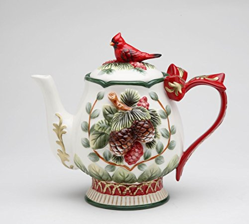 (Fine Ceramic Hand Painted Cardinal and Evergreen Pine Cone Design with Red Ribbon Handle Teapot (holds 24 fl. oz), 8-1/8
