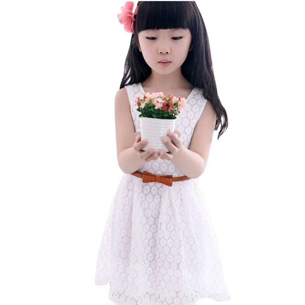 LUQUAN Princess Girls Summer Lace Vest Dress Korean Style A-Line Baby Costume 110/3-4T,White