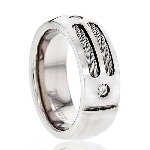 FlameReflection 8mm Men Titanium Wedding Band Brushed Top Screw Head Design Steel Cable Inlay Size 13 SPJ