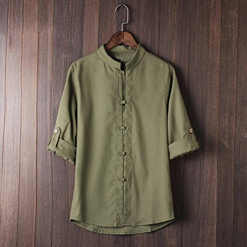 Shirt Linen Classic Tang Men's Sleeve Casual Martial 4 Green Blouse Slim Arts Blouse with 3 Chinese T Style kung Suit Blouse Tops Block Men Dragon Promotion Shirt Fit fu p7Z0w7dx