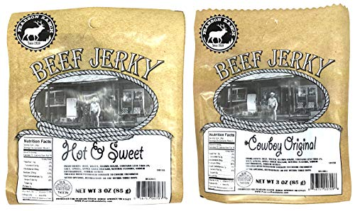 Pearson Ranch Original Cowboy Recipe and Hot and Sweet Beef Jerky Sampler Pack of 2 (3 Ounce Bags)