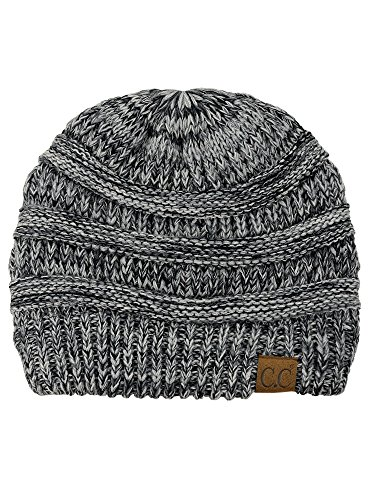 Marbled Chunky - C.C Trendy Warm Chunky Soft Stretch Cable Knit Beanie Skully, 3 Tone Gray