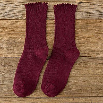 Maivasyy 3 paires de chaussettes courtes lâche de l'oreille de bois le printemps et l'Automne Vintage Femme rayures verticales fines Chaussettes Coton Heap, Wine Red