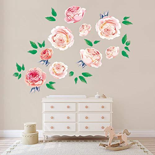 Runtoo Pink Peony Wall Stickers Flower Girl Rose Wall Decals Bedroom Living Room Nursery Wall Art Decor