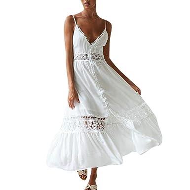5b64a2dc2 Overdose Vestido Blanco de Las Mujeres Ocasional Sólido con Cuello En V de  Encaje Patchwork Hollow Sin Mangas Sling Largo Maxi Vestido Vestidos de ...