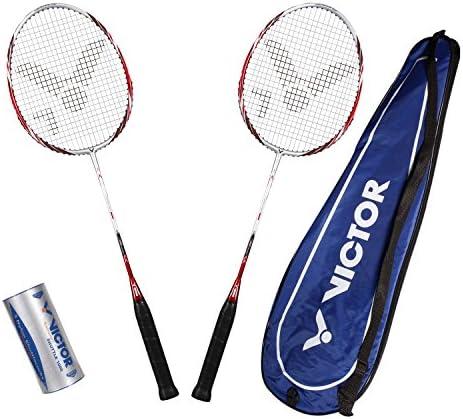 VICTOR Badminton Set, 2x Atomos 500 / Racketbag / 3x Nylonball, Silber/Blau, 099/0/7