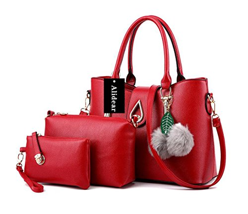 Alidear New Brand and 2017 New Women Top Handle Satchel Handbags Tote Purse Wine Red