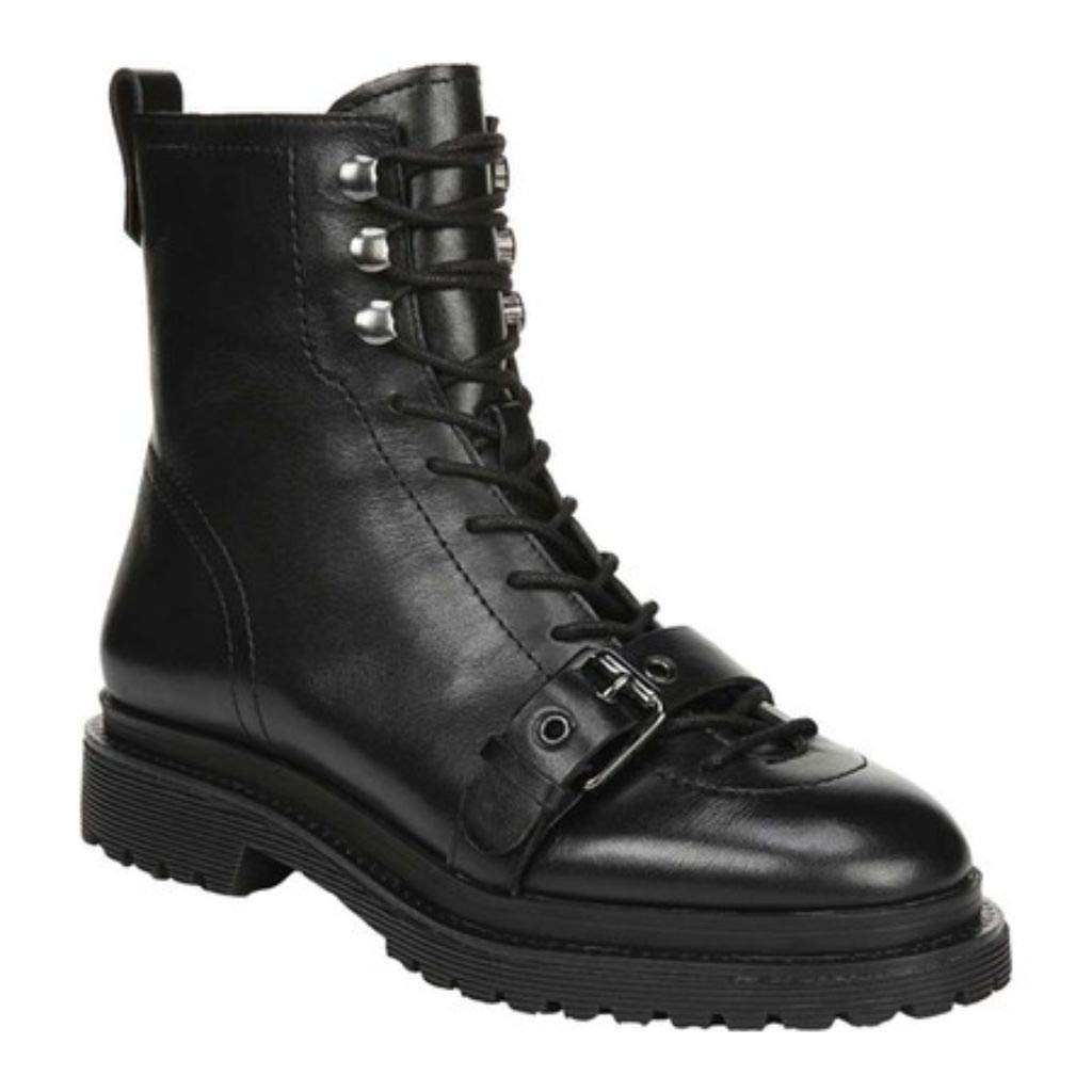 Franco Sarto Women's A-Amelia Combat Boot, Black Leather, 10 M by Franco Sarto