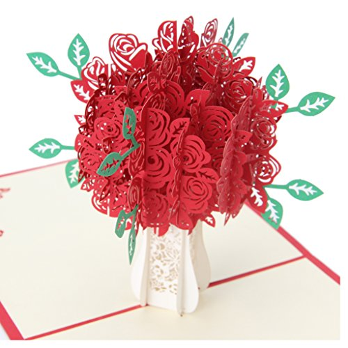 (Amrka 3D Rose Greeting Card Pop Up Paper Cut Postcard Birthday Wedding Valentines Gift)