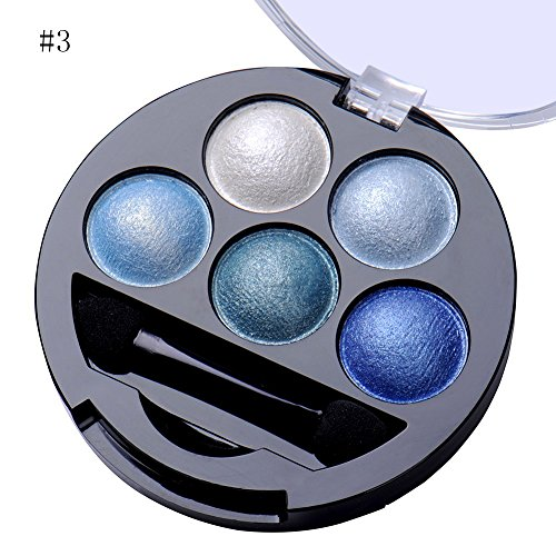 Newest trent 5 Colors Make up Eyeshadow Shimmer Eye Highlight Palette & Cosmetic Brush Makeup Set (#3 Blue)