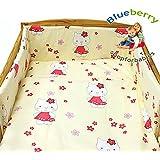 "BlueberryShop 2 pcs BABY COT BED BUNDLE BEDDING SET DUVET+PILLOW COVERS matching cot bed 120 x 150 cm (47"" x 59"") ( 0-7Yrs ) ( 150 x 120 cm ) Cream Kitty"