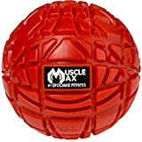 Muscle Max Massage Ball - Deep Tissue Massager for Trigger Point, Myofascial Release & Self Massage Comes with Travel Bag - Red