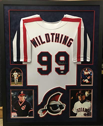 Charlie Sheen Rick Vaughn Major League Cleveland Indians Signed Autograph Custom Framed Jersey Suede Matted WILD THING Name plate JSA WItnessed Certified