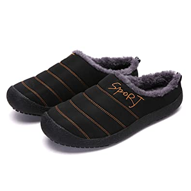 ccec046127e93 Winter Warm Mens Slippers Cozy Plush Fur Water-Resistant Anti-Slip Indoor  Outdoor Slip