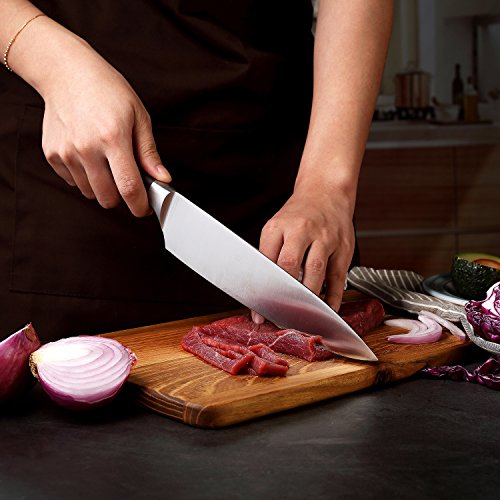 PAUDIN Kitchen Knife, 8 inch Chef Knife N2 German Stainless Steel knife with Sharp Edge and Ergonomic Wood Handle, 5Cr15Mov kitchen knife for Pro & Home Chefs by PAUDIN (Image #7)