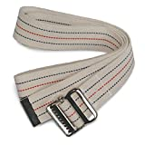 Sammons Preston Gait Belt with Metal Buckle, 2'' Wide, 54'' Long Heavy Duty Gait Transfer Belt, Essential Walking and Transport Assistant for Elderly, Disabled, and Medical Patients, Neutral Stripe